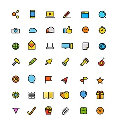 Different line style color icons set vector image vector image