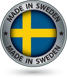 Made in Sweden silver label with flag vector image vector image