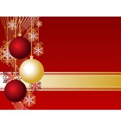 red christmas card with christmas balls and snowfl vector image