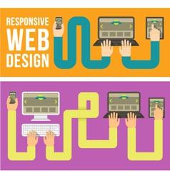 Responsive web design horizontal banners vector