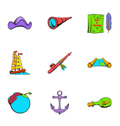sea travel icons set cartoon style vector image vector image
