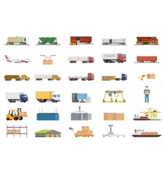 Set of icons transport logistics concept vector image
