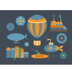 Set of objects steampunk vector image