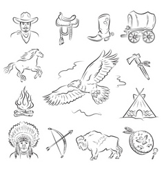 western icons set vector image vector image