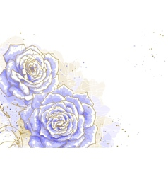 Blue roses on white background vector image vector image