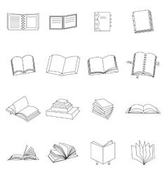Book thin icons set vector image