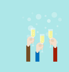 hand with champagne glass party concept vector image