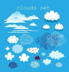 set of different clouds in the sky on a blue sky vector image vector image