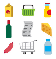 supermarket foods icons vector image