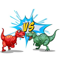 Two dinosaurs fighting each other vector image vector image