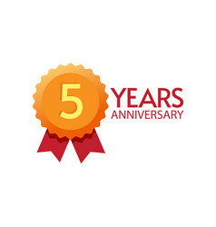 5 years anniversary icon badge flat symbol vector