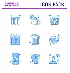 9 blue set corona virus epidemic icons vector image