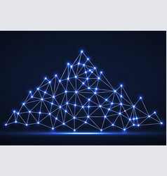 abstract mountain of glowing lines and dots vector image