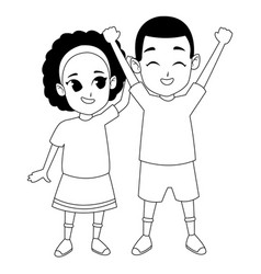 Afroamerican sister and brother smiling cartoon in vector