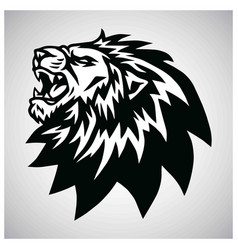 angry lion head roaring logo mascot vector image