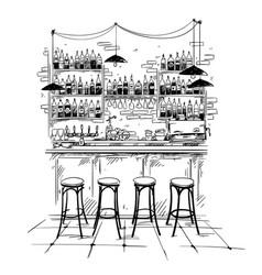 Bar interior setting sketch vector