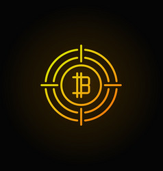 bitcoin in crosshair outline icon vector image