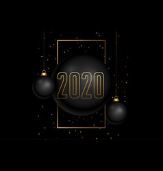 black and gold style happy new year 2020 vector image