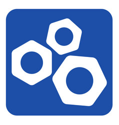 Blue white information sign - three nuts icon vector