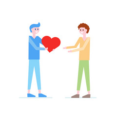 boy giving red heart to boy father flat vector image