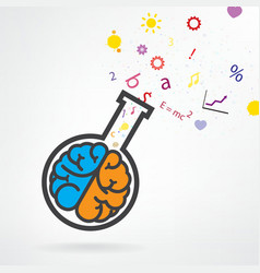 brain and test tube sign vector image
