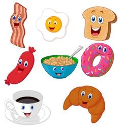 Breakfast cartoon collection vector image vector image