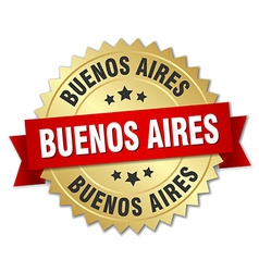 Buenos Aires round golden badge with red ribbon vector