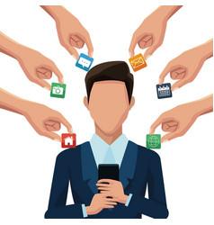 businessman using smartphones apps vector image