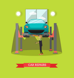 car repair concept in flat vector image