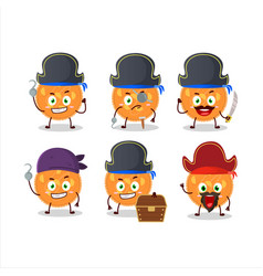 Cartoon character orange pie with various pirates vector