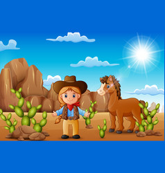 Cartoon happy cowgirl with horse in the desert vector