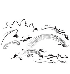 cartoon landscape with fields and trees sketching vector image