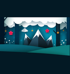 cartoon night landscape mountain vector image