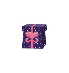 Cartoon present gift box ribbon bow vector