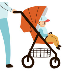 Child sits on baby stroller vector
