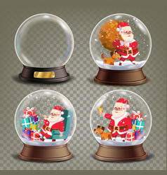 Christmas snow globe with santa claus and gifts vector