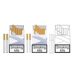 Cigarette pack icons Color no outline linea vector image