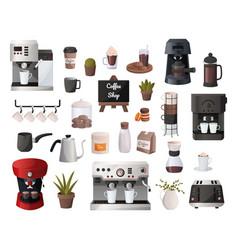 coffee supplies cartoon cafe equipment espresso vector image