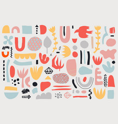 collage pattern background hand drawn vector image