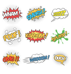 Collection nine wording sound effects vector