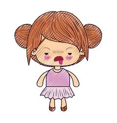 Colored crayon silhouette of kawaii little girl vector