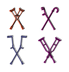 crutches icon set color outline style vector image