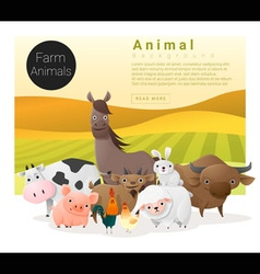 Cute animal family background with farm animals 1 vector