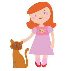 Cute girl and cat vector image