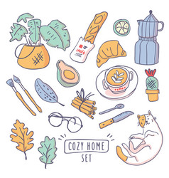 cute set of cozy home hygge elements vector image