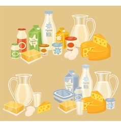 Dairy products on wooden table milk icon vector image