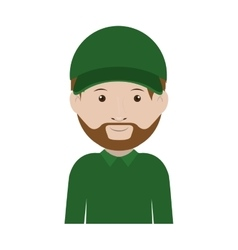 Dispatcher with green uniform and hat vector
