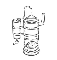 distillation apparatus sketch vector image