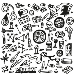 drugs- doodles set vector image