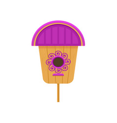 flat icon of wooden birdhouse with purple vector image